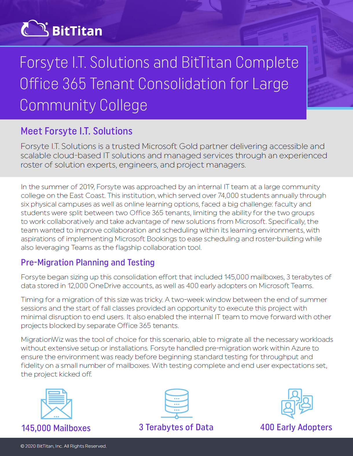 Forsyte I.T. Solutions and BitTitan Complete Office 365 Tenant Consolidation for Large Community College