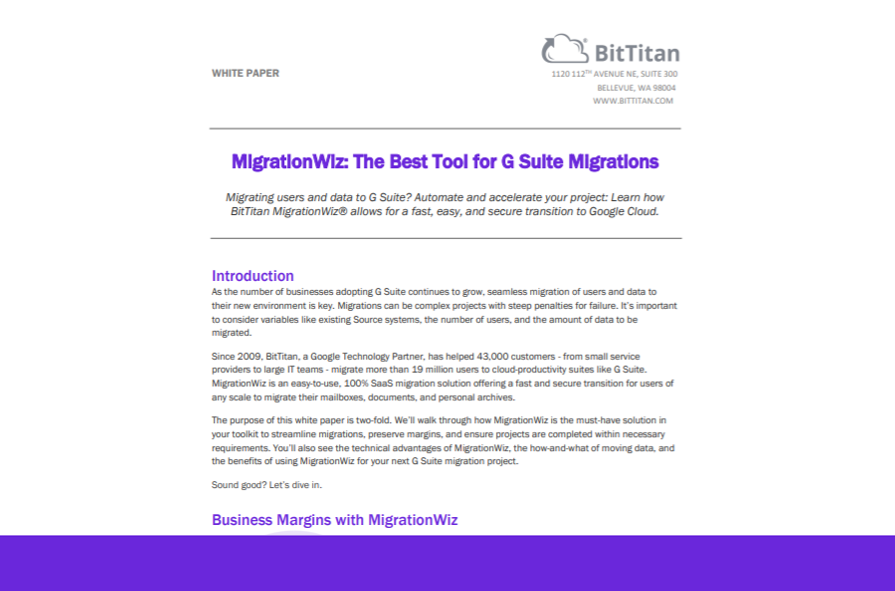 MigrationWiz: The Best Tool for G Suite Migrations